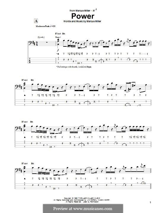 Power: Для бас-гитары с табулатурой by Marcus Miller