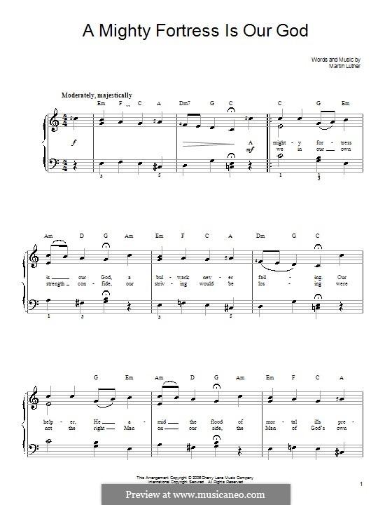 A Mighty Fortress is Our God: Для фортепиано (легкий уровень) by Johann Friedrich Doles