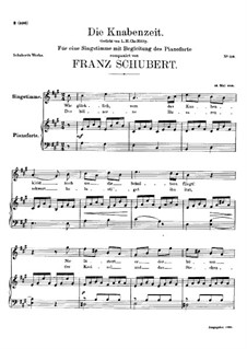 Die Knabenzeit (Boyhood), D.400: A Major by Франц Шуберт