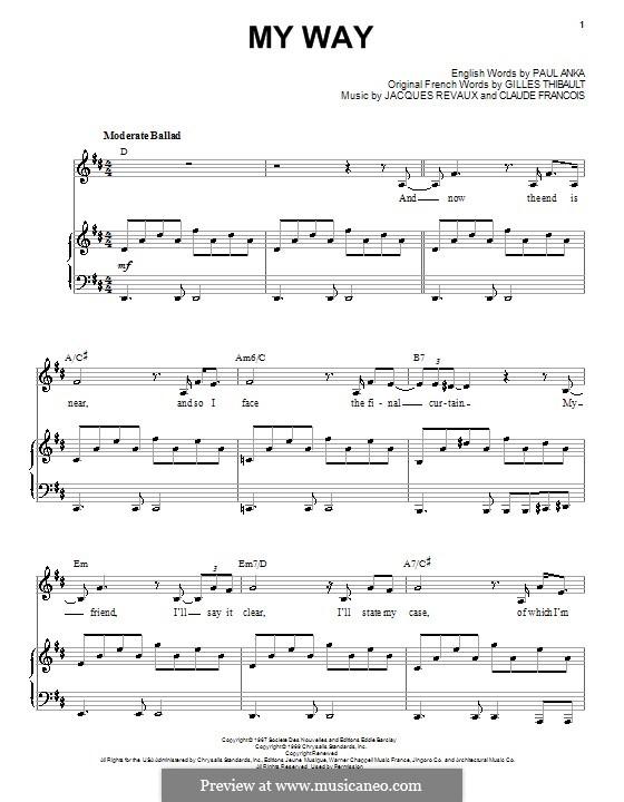 My Way: Для голоса и фортепиано или гитары (Frank Sinatra) by Claude Francois, Jacques Revaux