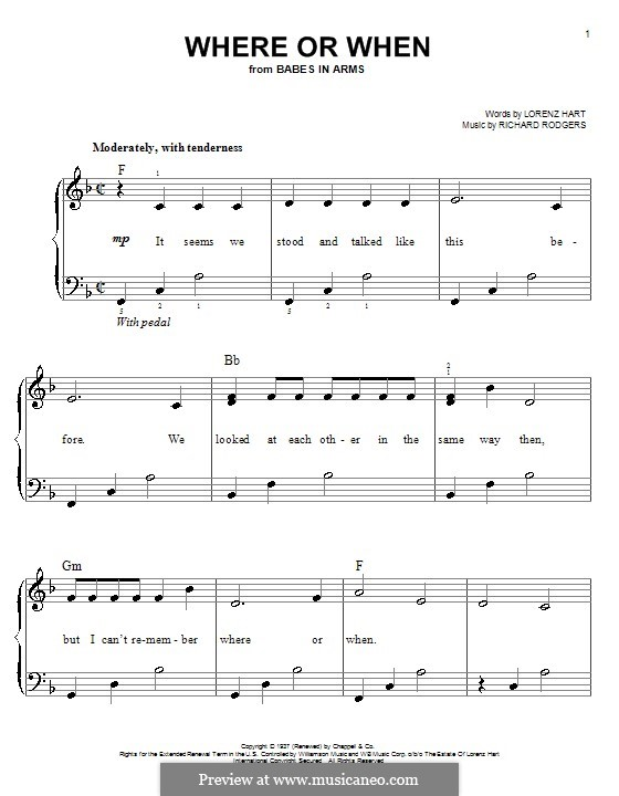 Where or When: Для фортепиано (легкий уровень) by Richard Rodgers