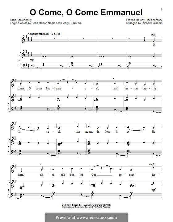 O Come, O Come, Emmanuel: Для голоса и фортепиано by folklore