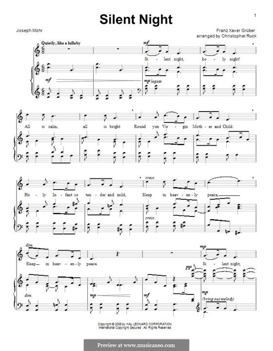 Тихая ночь (ноты для печати): Для голоса и фортепиано или гитары (до мажор) by Франц Ксавьер Грубер