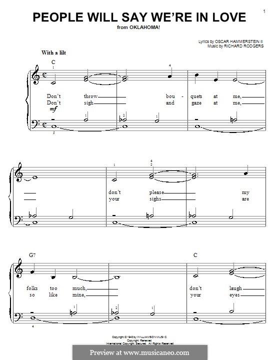 People will Say We're in Love: Для фортепиано (легкий уровень) by Richard Rodgers