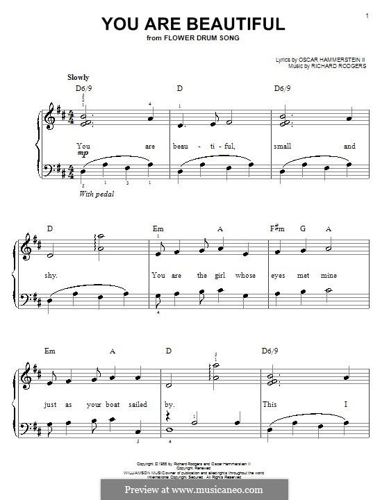 You are Beautiful: Для фортепиано (легкий уровень) by Richard Rodgers