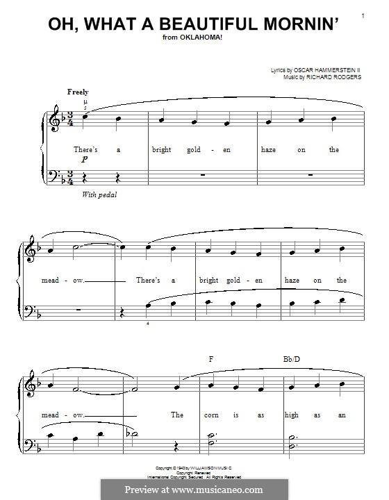 Oh, What a Beautiful Mornin' (from 'Oklahoma!'): Для фортепиано (легкий уровень) by Richard Rodgers