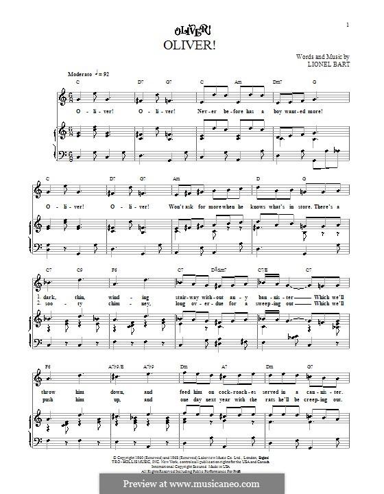Oliver!: Для голоса и фортепиано (или гитары) by Lionel Bart