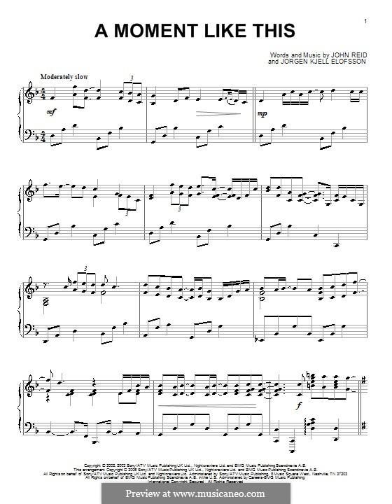 A Moment Like This: Для фортепиано by John Reid, Jörgen Kjell Elofsson