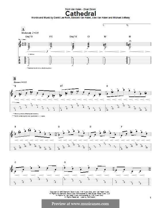 Cathedral (Van Halen): Для гитары с табулатурой by Alex Van Halen, Edward Van Halen, Michael Anthony