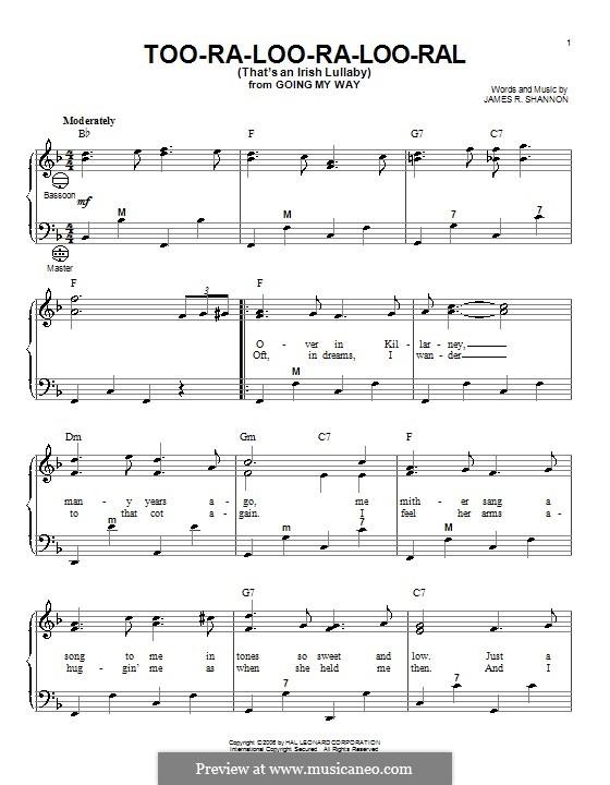 Too-Ra-Loo-Ra-Loo-Ral (That's an Irish Lullaby): Для аккордеона by James Royce Shannon