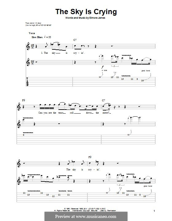The Sky Is Crying: Гитарная табулатура by Elmore James