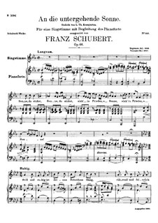 An die untergehende Sonne (To the Setting Sun), D.457 Op.44: An die untergehende Sonne (To the Setting Sun) by Франц Шуберт