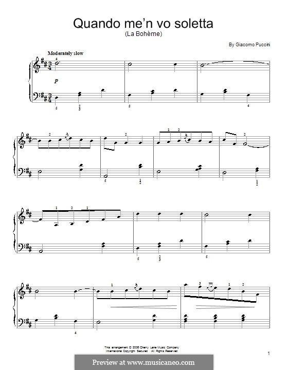 Quando men vo (Musetta's Waltz): Для фортепиано (легкий уровень) (D Major) by Джакомо Пуччини
