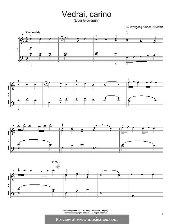 Vedrai, Carino: Для фортепиано by Вольфганг Амадей Моцарт