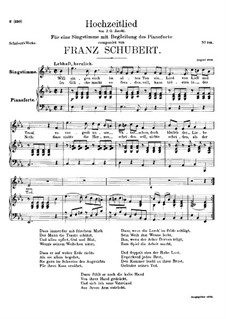 Hochzeitslied (Wedding Song), D.463: E flat Major by Франц Шуберт