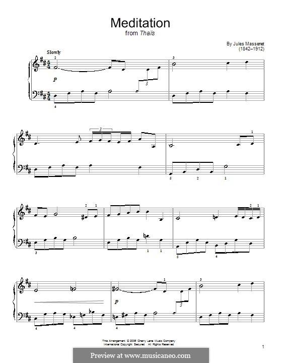 Размышление: Легкая версия для фортепиано by Жюль Массне