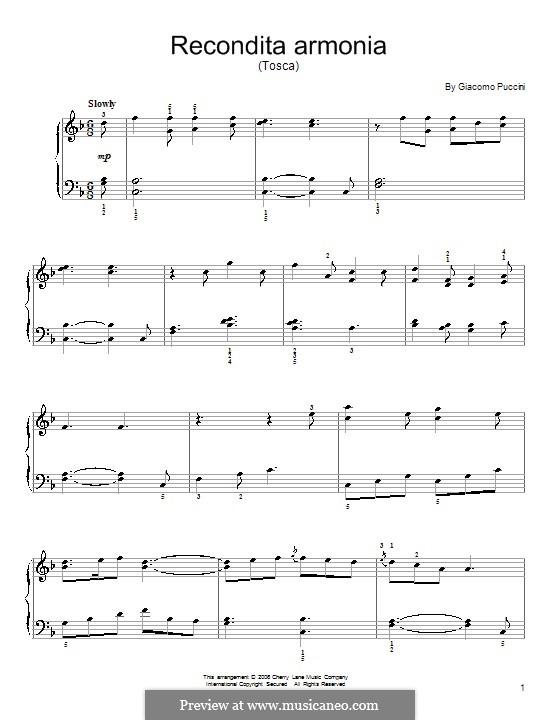 Тоска: Recondita armonia, for easy piano by Джакомо Пуччини
