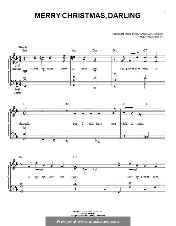 Merry Christmas, Darling (Carpenters): Для аккордеона by Frank Pooler, Richard Carpenter