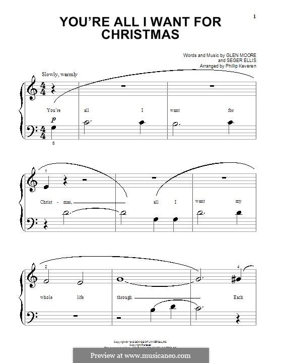 You're All I Want for Christmas (Brook Benton): Для фортепиано (очень легкая версия) by Glen Moore, Seger Ellis