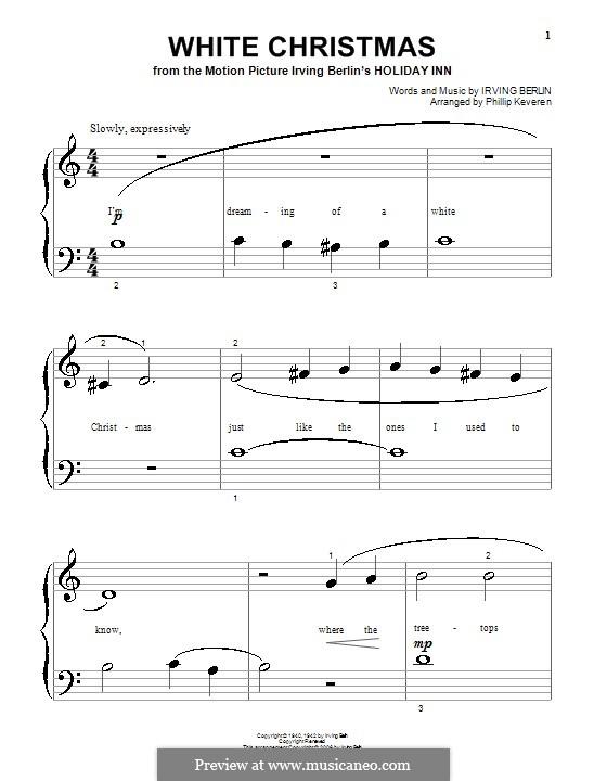 White Christmas, for Piano: Очень легкая версия by Ирвинг Берлин