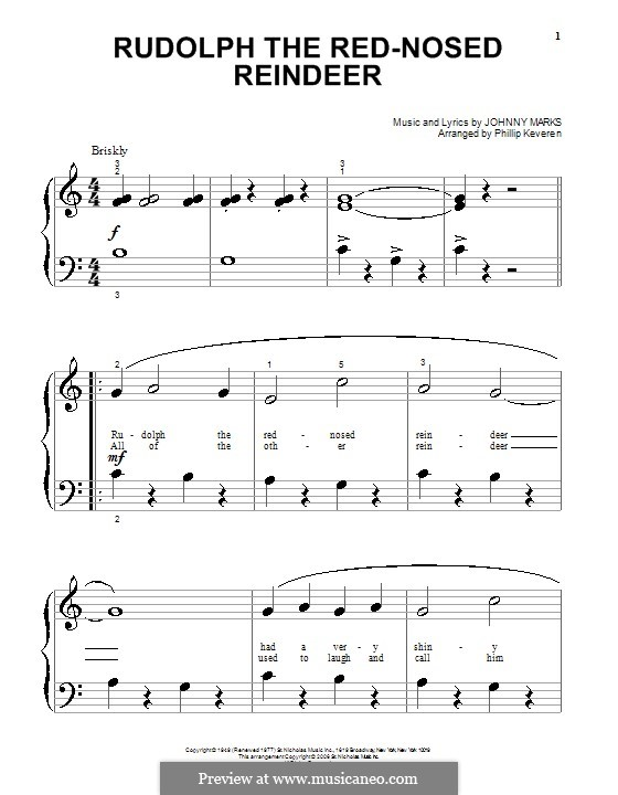 Rudolph the Red-Nosed Reindeer: Для фортепиано (очень легкая версия) by Johnny Marks