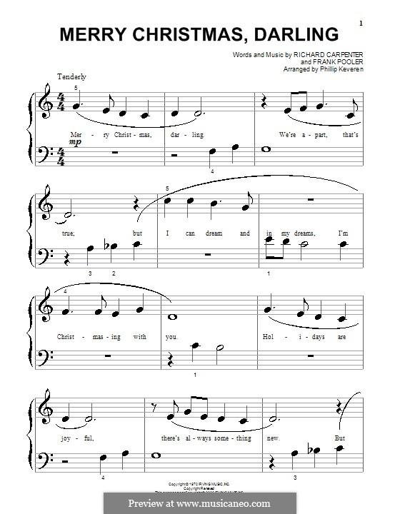 Merry Christmas, Darling (Carpenters): Для фортепиано (очень легкая версия) by Frank Pooler, Richard Carpenter