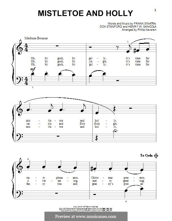 Mistletoe and Holly (Frank Sinatra): Для фортепиано (очень легкая версия) by Dok Stanford, Henry W. Sanicola