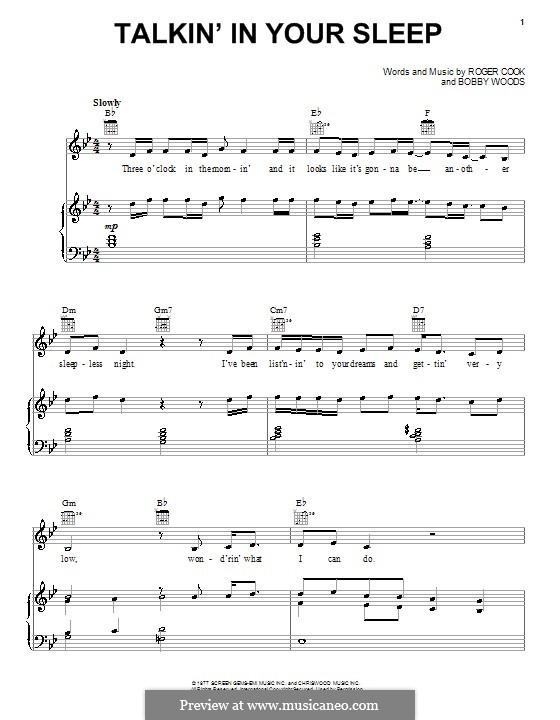 Talkin' in Your Sleep (Crystal Gayle): Для голоса и фортепиано (или гитары) by Bobby Wood, Roger Cook