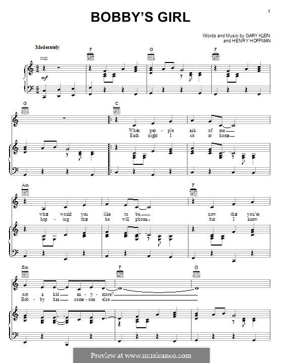 Bobby's Girl (Marcie Blane): Для голоса и фортепиано (или гитары) by Gary Klein, Henry Hoffman