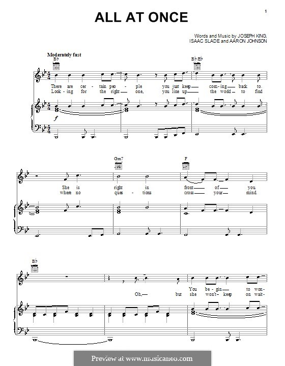 All at Once (The Fray): Для голоса и фортепиано (или гитары) by Aaron Johnson, Isaac Slade, Joseph King