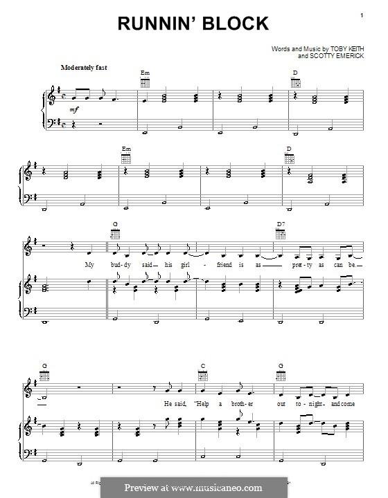 Runnin' Block: Для голоса и фортепиано (или гитары) by Scott Emerick