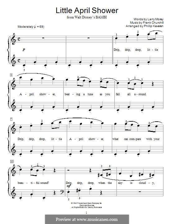 Little April Shower (from Bambi): Для фортепиано by Frank Churchill