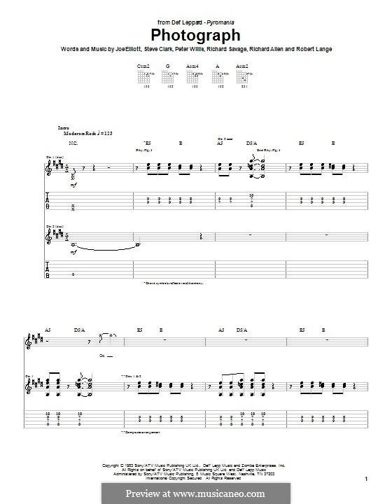 Photograph (Def Leppard): Для гитары с табулатурой by Joe Elliott, Peter Willis, Richard Allen, Richard Savage, Robert John Lange, Steve Clark