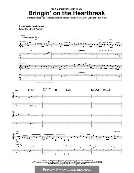 Bringin' on the Heartbreak (Def Leppard): Для гитары с табулатурой by Joe Elliott, Peter Willis, Richard Allen, Richard Savage, Steve Clark