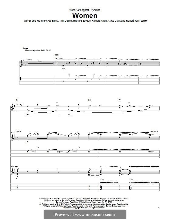 Women (Def Leppard): Для гитары с табулатурой by Joe Elliott, Phil Collen, Richard Allen, Richard Savage, Robert John Lange, Steve Clark