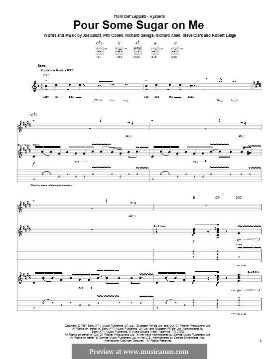 Pour Some Sugar on Me (Def Leppard): Гитарная табулатура by Joe Elliott, Phil Collen, Richard Savage, Robert John Lange, Steve Clark