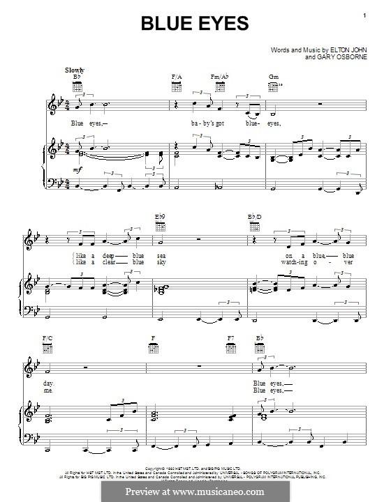 Blue Eyes: Для голоса и фортепиано (или гитары) by Elton John, Gary Osborne