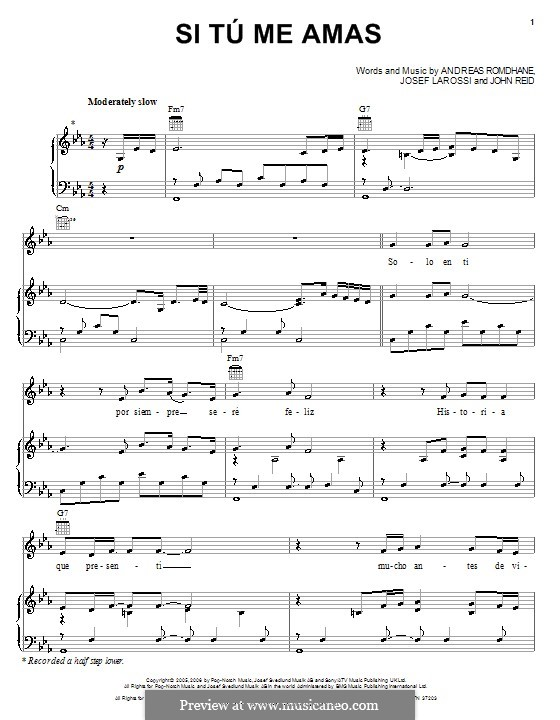 Si Tu Me Amas (Il Divo): Для голоса и фортепиано (или гитары) by Andreas 'Quiz' Romdhane, John Reid, Josef Larossi
