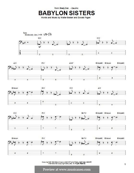 Babylon Sisters (Steely Dan): Для бас-гитары с табулатурой by Donald Fagen, Walter Becker
