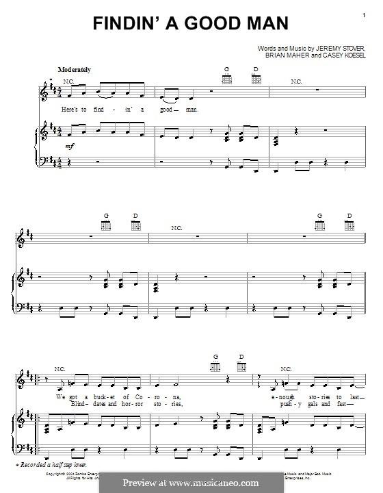 Findin' a Good Man (Danielle Peck): Для голоса и фортепиано (или гитары) by Brian Maher, Casey Koesel, Jeremy Stover