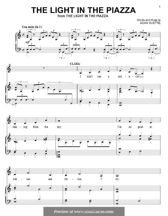 The Light in the Piazza: Для голоса и фортепиано (или гитары) by Adam Guettel