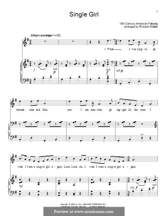 Single Girl: Для голоса и фортепиано (или гитары) by folklore