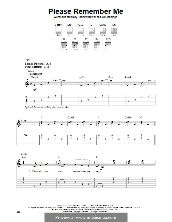 Please Remember Me (Tim McGraw): Для гитары (очень легкая версия) by Rodney Crowell, Will Jennings