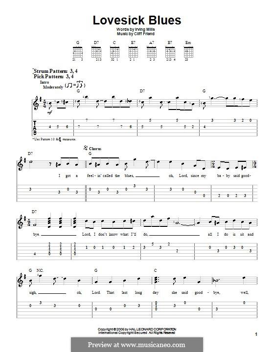 Lovesick Blues (Hank Williams): Для гитары (очень легкая версия) by Cliff Friend, Irving Mills