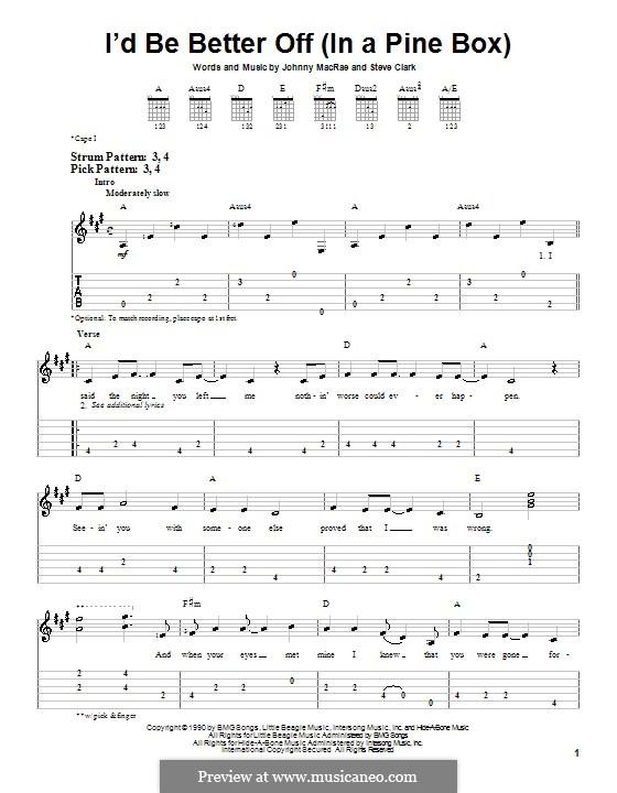 I'd Be Better Off (In a Pine Box): Для гитары (очень легкая версия) by Johnny MacRae, Steve Clark