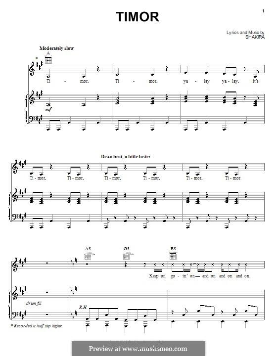Timor: Для голоса и фортепиано (или гитары) by Shakira