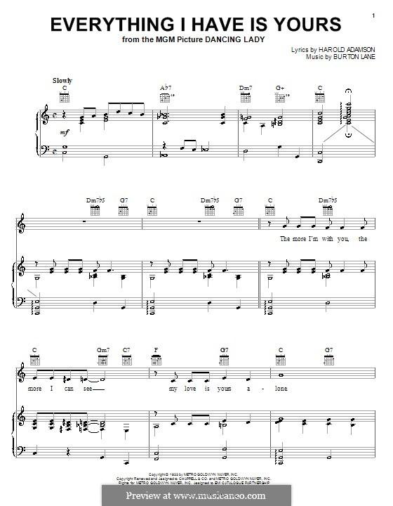 Everything I Have Is Yours (Sarah Vaughan): Для голоса и фортепиано (или гитары) by Burton Lane