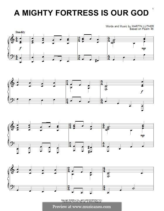 Наш Бог – могучая крепость: Для фортепиано by Мартин Лютер