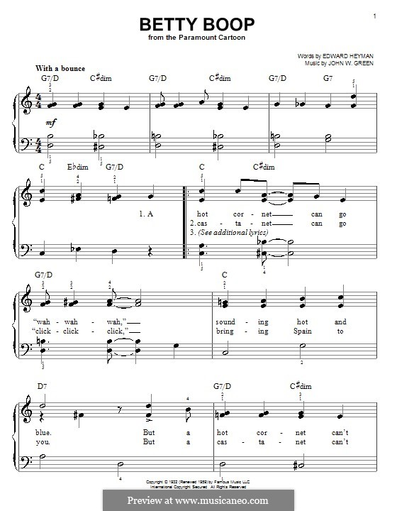 Betty Boop: Для фортепиано (легкий уровень) by John W. Green
