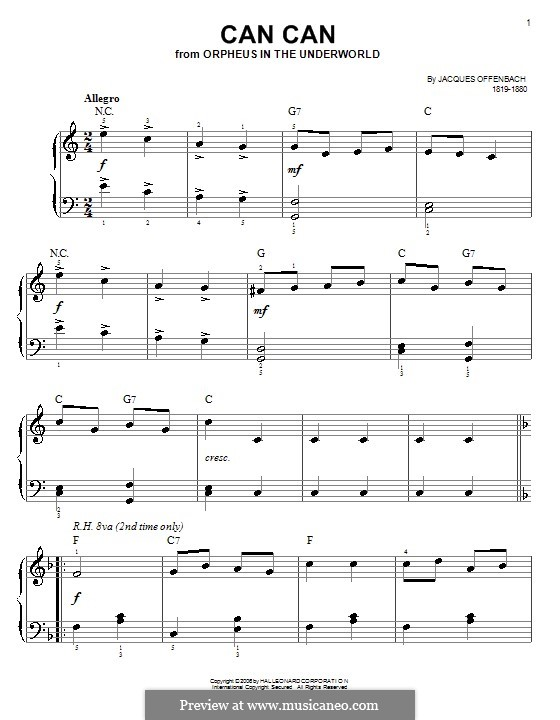 Канкан: Для фортепиано (легкий уровень) by Жак Оффенбах